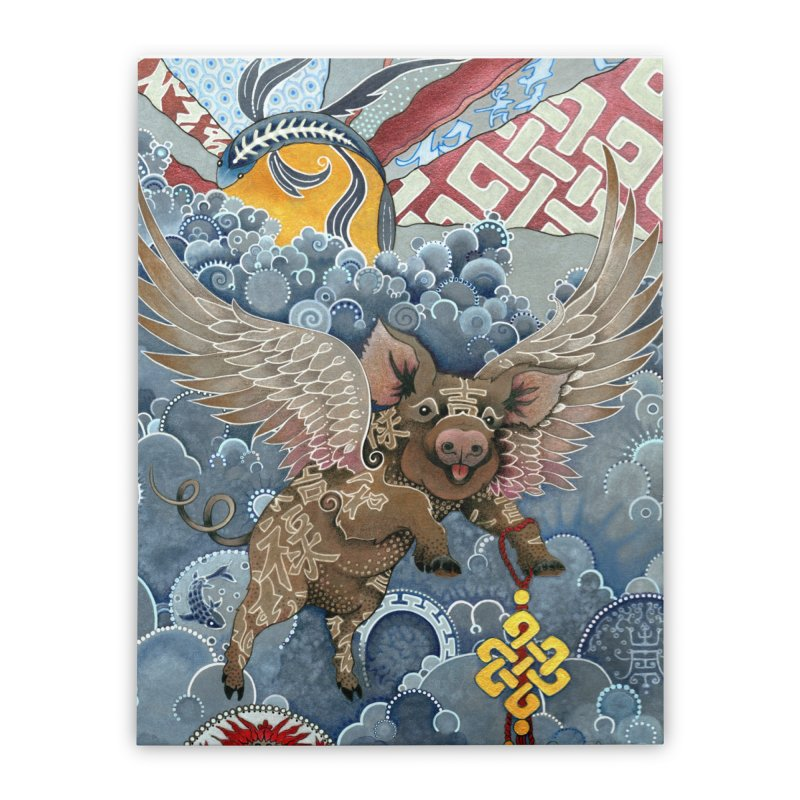 Year of the Pig Home Stretched Canvas by Ruby Charm Colors Artist Shop