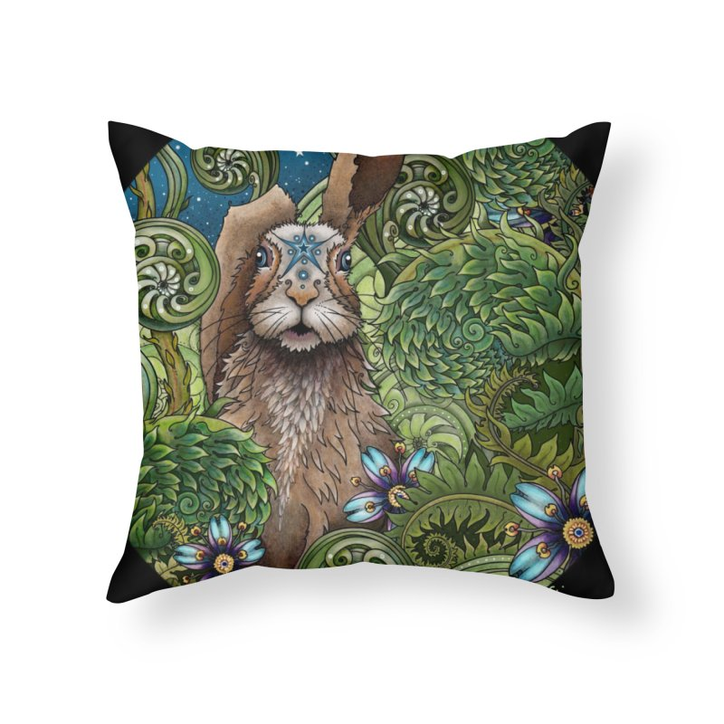 March Hare in Throw Pillow by Ruby Charm Colors Artist Shop