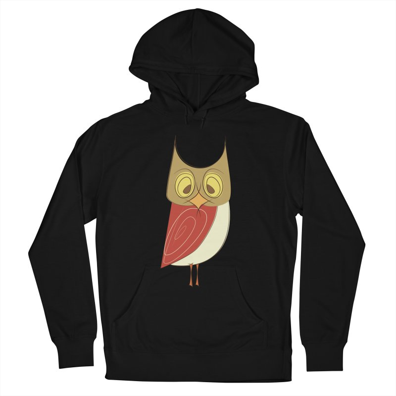 Cranky Retro Owl Men's French Terry Pullover Hoody by Runderella's Artist Shop