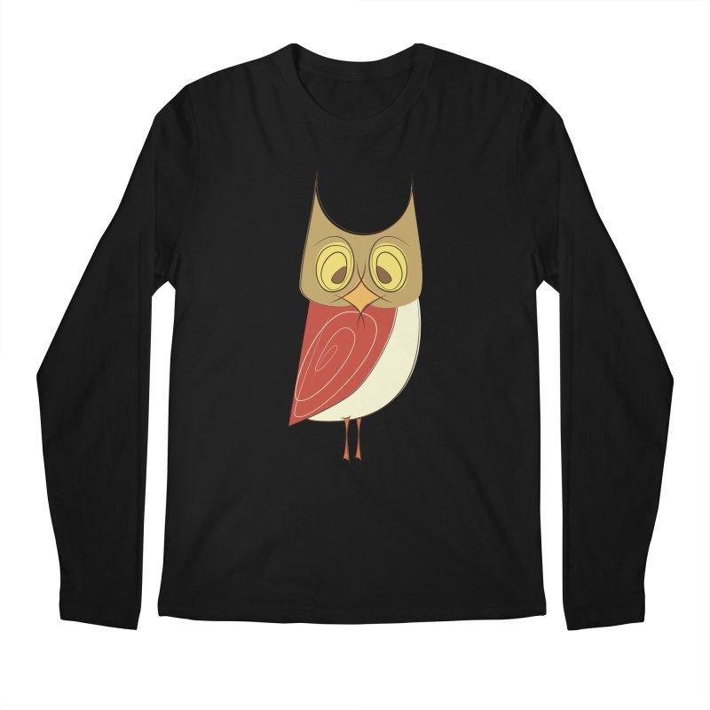 Cranky Retro Owl Men's Regular Longsleeve T-Shirt by Runderella's Artist Shop