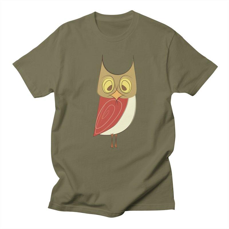 Cranky Retro Owl Women's Regular Unisex T-Shirt by Runderella's Artist Shop