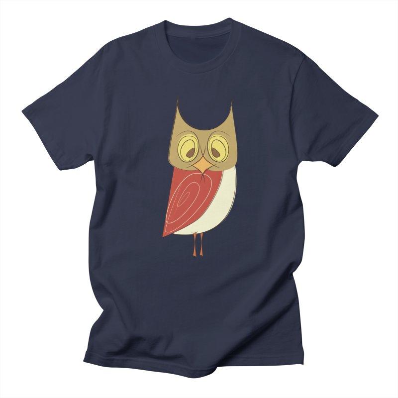 Cranky Retro Owl Men's Regular T-Shirt by Runderella's Artist Shop
