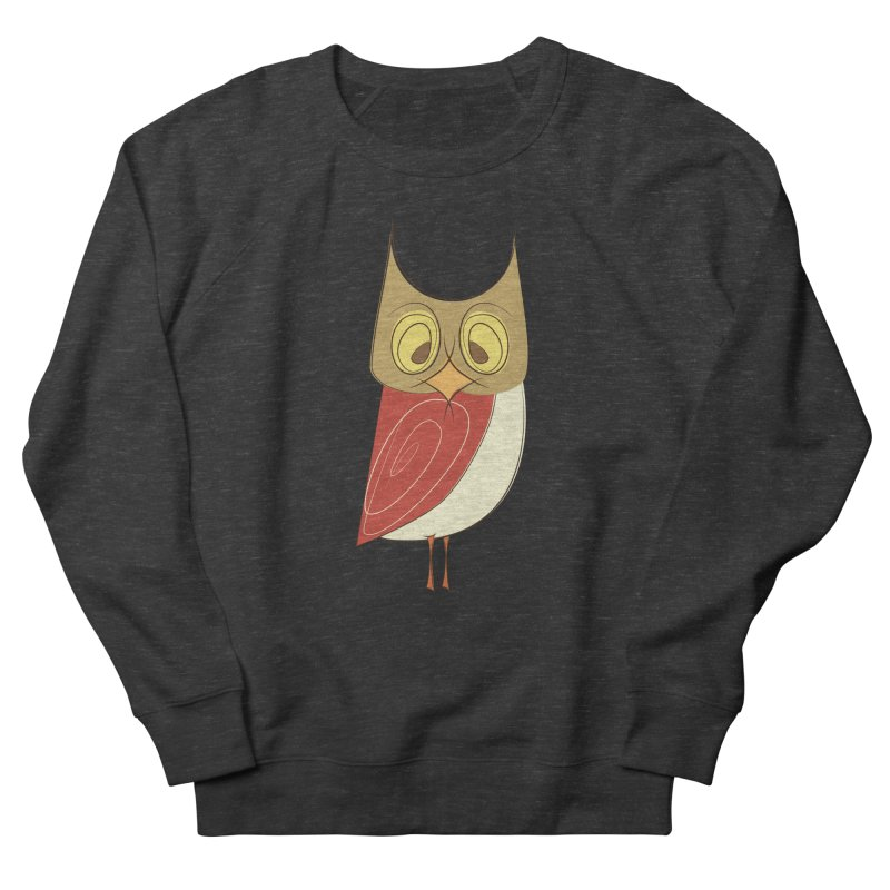 Cranky Retro Owl Women's French Terry Sweatshirt by Runderella's Artist Shop