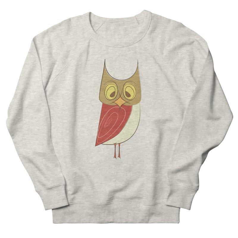 Cranky Retro Owl Women's French Terry Sweatshirt by Runderella's Artist Shop