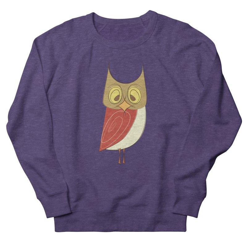 Cranky Retro Owl Men's French Terry Sweatshirt by Runderella's Artist Shop