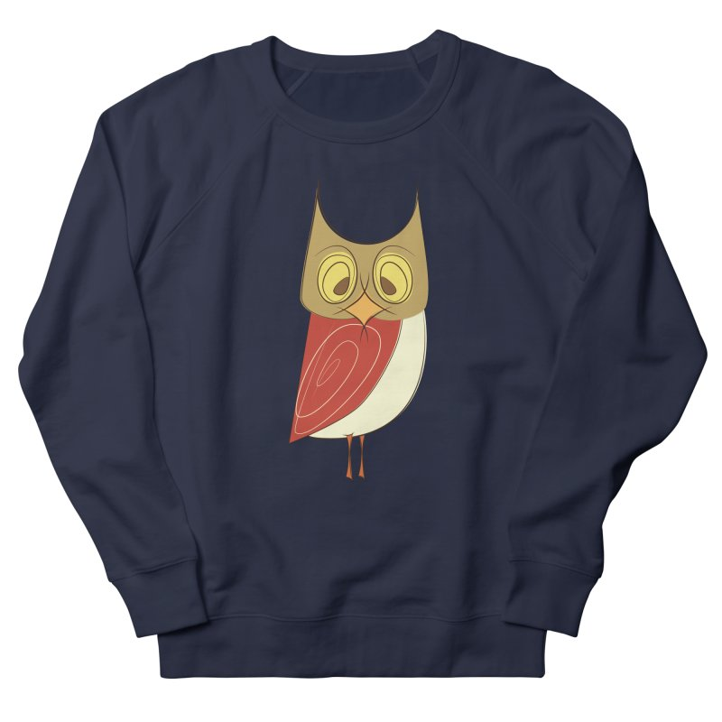Cranky Retro Owl Men's French Terry Sweatshirt by Runderella's Artist Shop