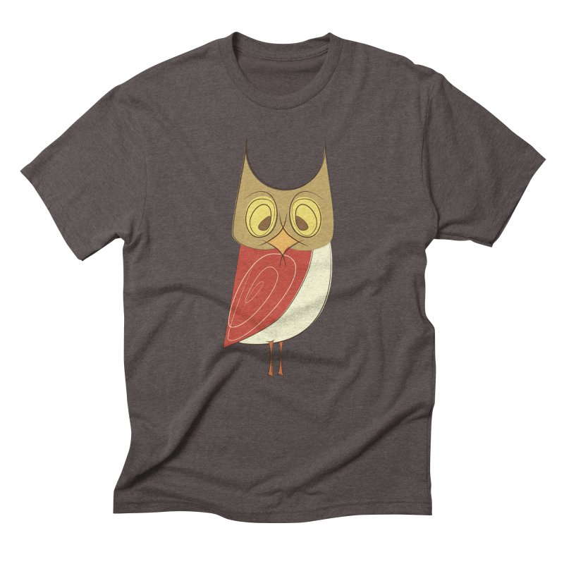 Cranky Retro Owl Men's Triblend T-Shirt by Runderella's Artist Shop