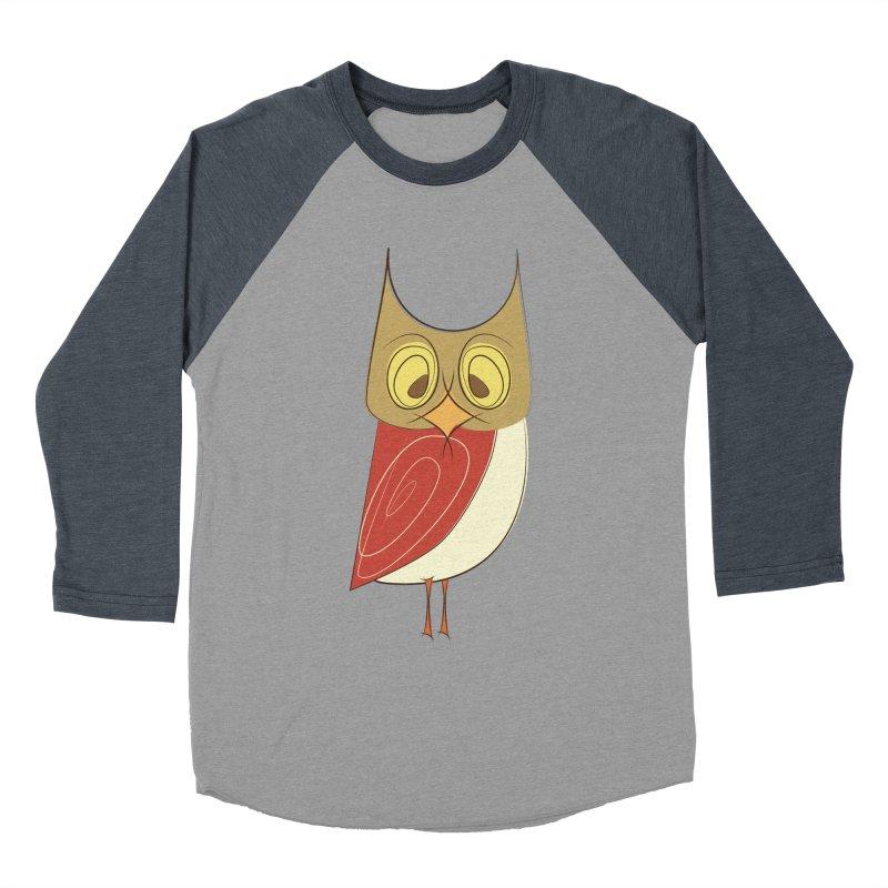 Cranky Retro Owl Women's Baseball Triblend Longsleeve T-Shirt by Runderella's Artist Shop