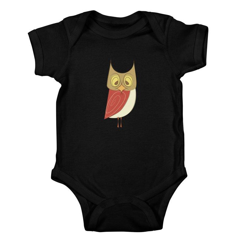 Cranky Retro Owl Kids Baby Bodysuit by Runderella's Artist Shop