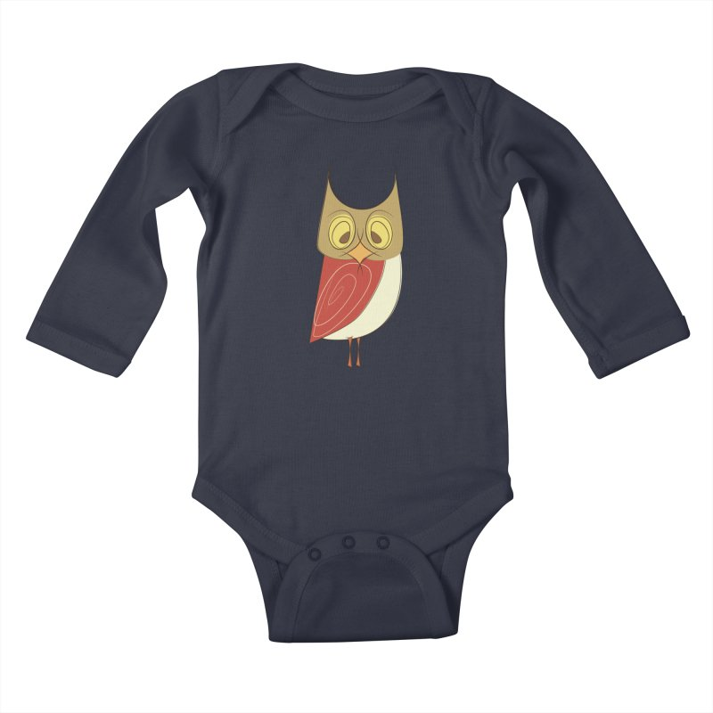 Cranky Retro Owl Kids Baby Longsleeve Bodysuit by Runderella's Artist Shop