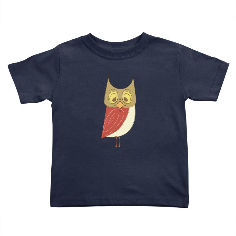 Cranky Retro Owl Kids Toddler T-Shirt by Runderella's Artist Shop