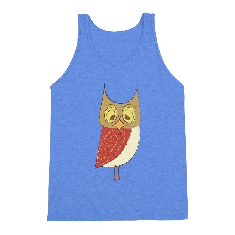 Cranky Retro Owl Men's Triblend Tank by Runderella's Artist Shop
