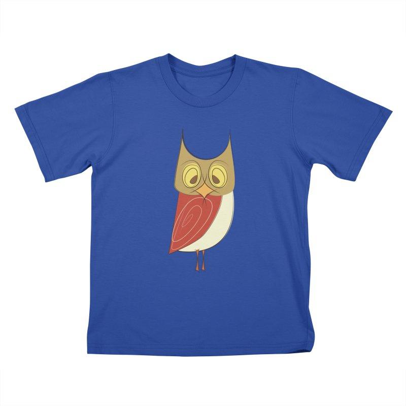 Cranky Retro Owl Kids T-Shirt by Runderella's Artist Shop
