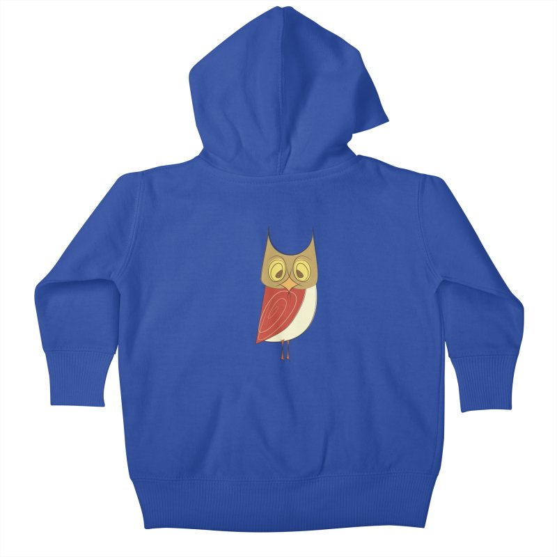 Cranky Retro Owl Kids Baby Zip-Up Hoody by Runderella's Artist Shop