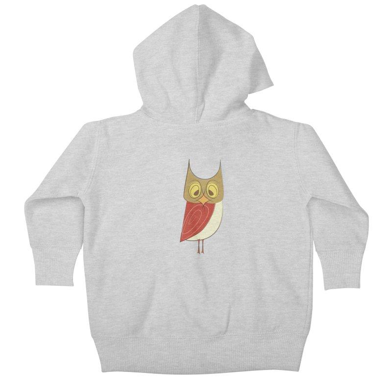 Cranky Retro Owl Kids Baby Zip-Up Hoody by Runderella's Artist Shop