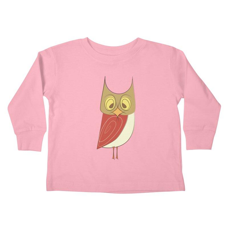 Cranky Retro Owl Kids Toddler Longsleeve T-Shirt by Runderella's Artist Shop