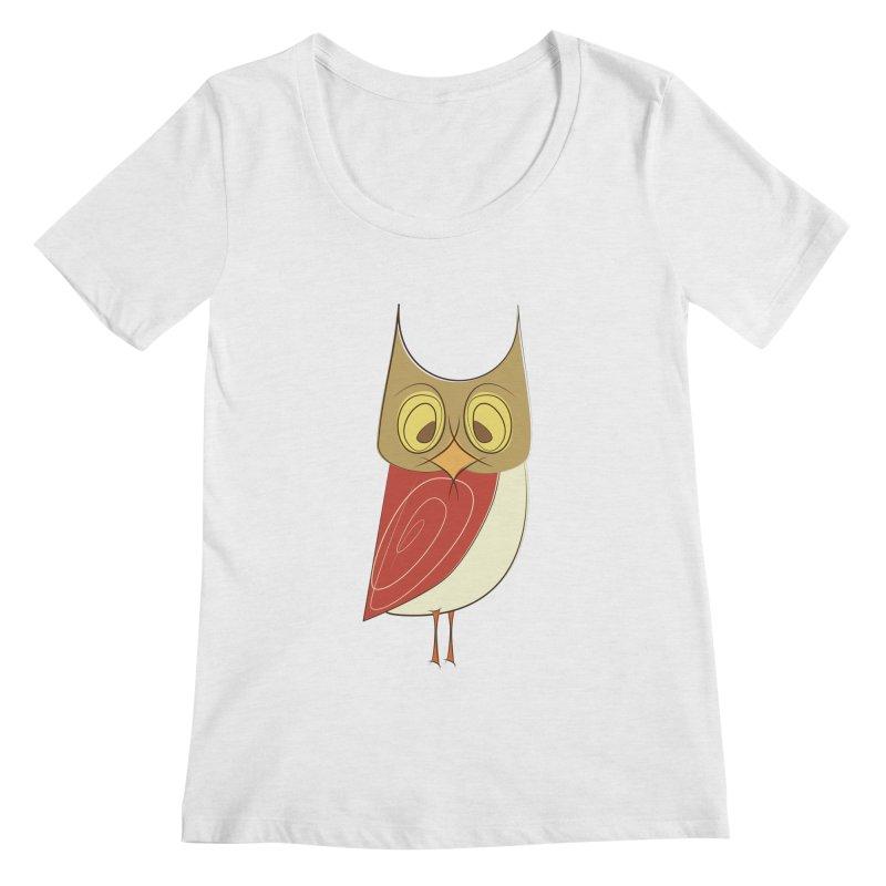 Cranky Retro Owl Women's Regular Scoop Neck by Runderella's Artist Shop