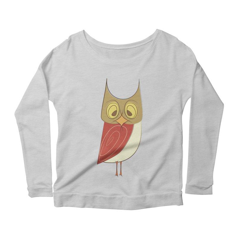Cranky Retro Owl Women's Scoop Neck Longsleeve T-Shirt by Runderella's Artist Shop