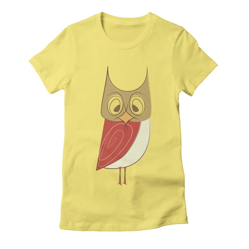 Cranky Retro Owl Women's Fitted T-Shirt by Runderella's Artist Shop