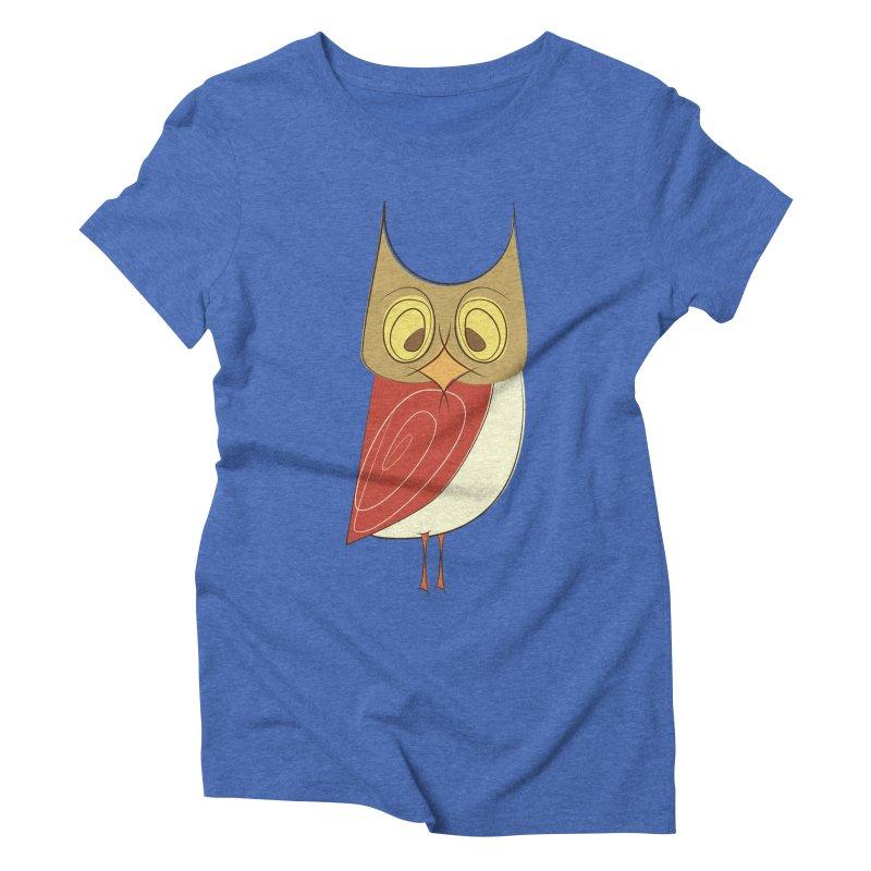 Cranky Retro Owl Women's Triblend T-Shirt by Runderella's Artist Shop