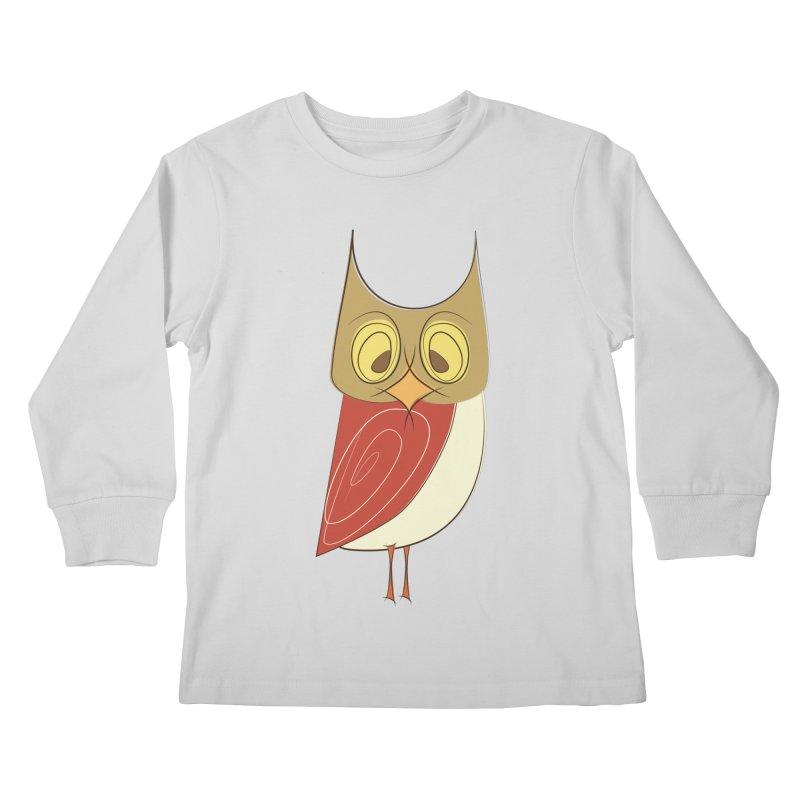Cranky Retro Owl Kids Longsleeve T-Shirt by Runderella's Artist Shop