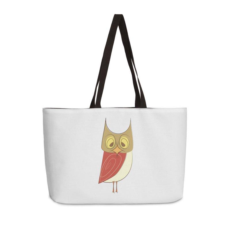 Cranky Retro Owl Accessories Weekender Bag Bag by Runderella's Artist Shop