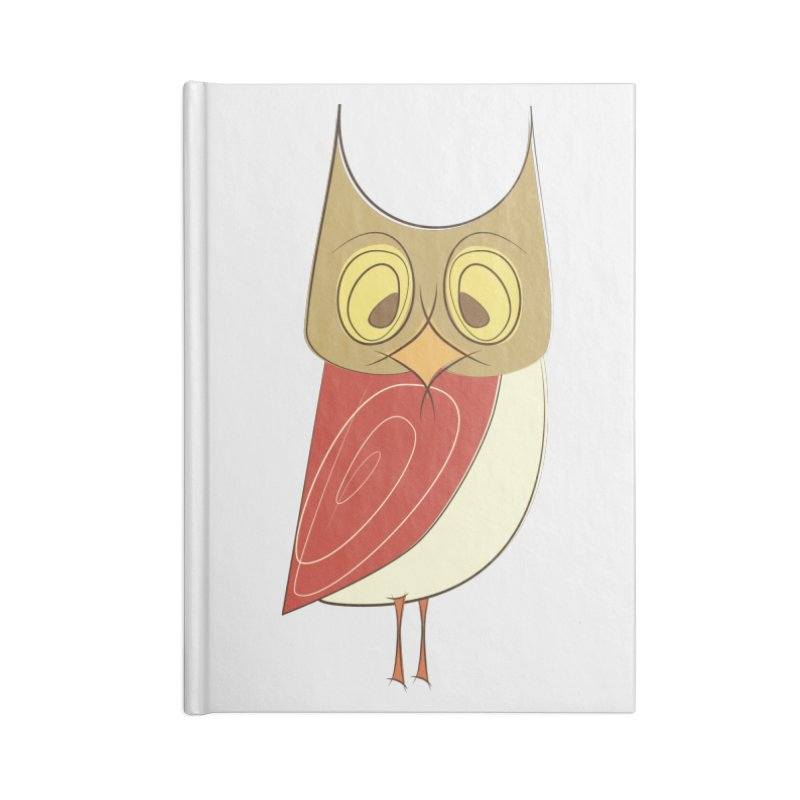 Cranky Retro Owl Accessories Lined Journal Notebook by Runderella's Artist Shop