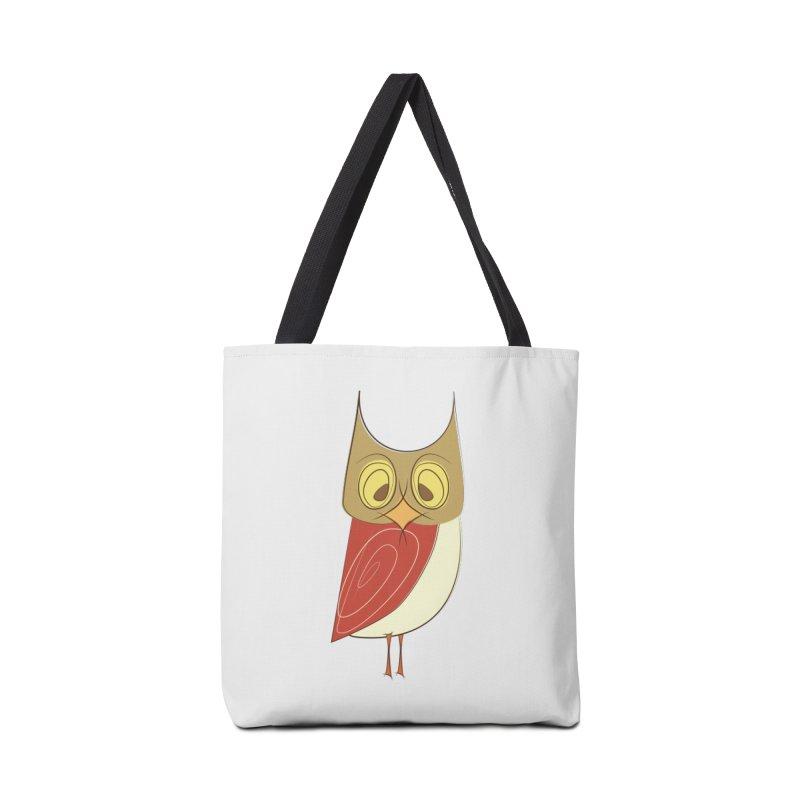 Cranky Retro Owl Accessories Tote Bag Bag by Runderella's Artist Shop