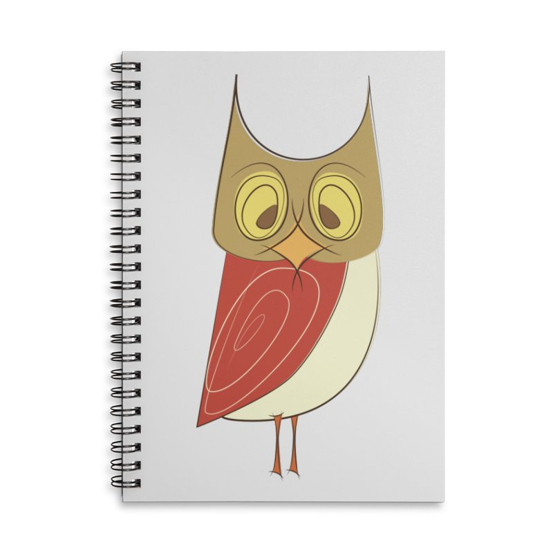 Cranky Retro Owl Accessories Lined Spiral Notebook by Runderella's Artist Shop