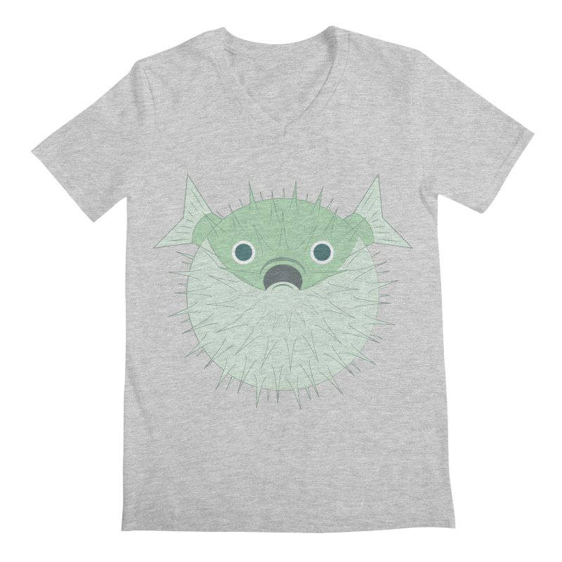 Shock Cousteau's Blowfish Men's Regular V-Neck by Runderella's Artist Shop