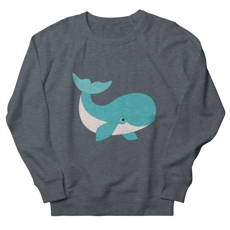 Shock Cousteau's Whale  Men's French Terry Sweatshirt by Runderella's Artist Shop