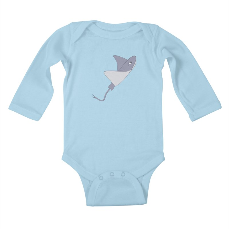 Shock Cousteau's Stingray Kids Baby Longsleeve Bodysuit by Runderella's Artist Shop