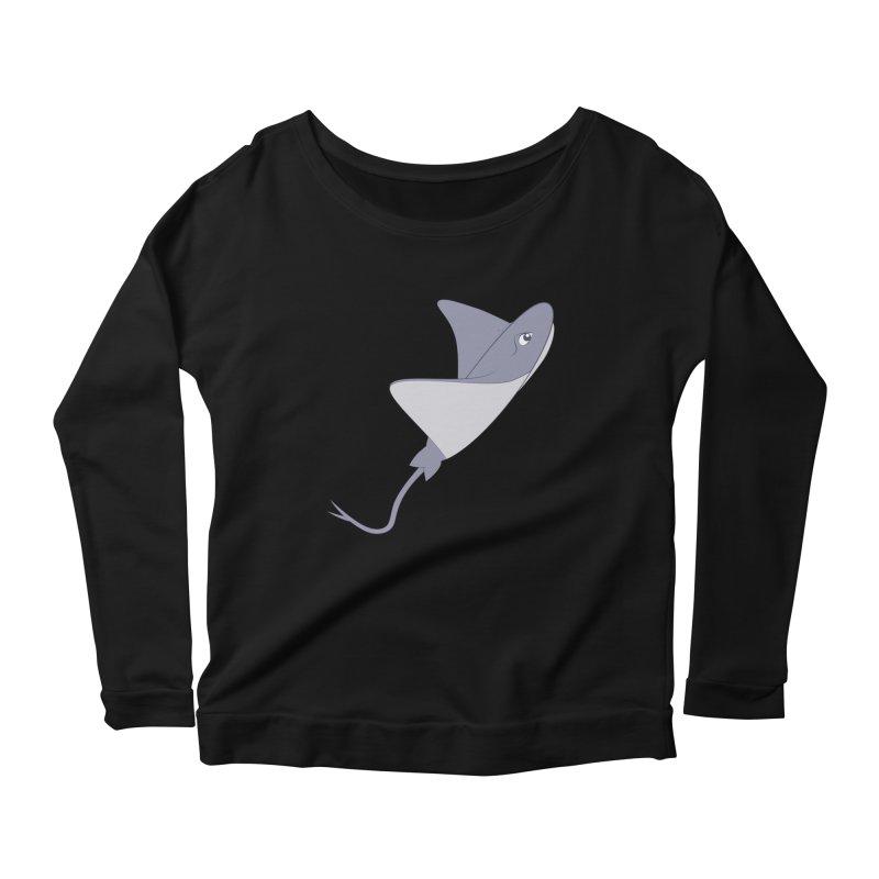 Shock Cousteau's Stingray Women's Scoop Neck Longsleeve T-Shirt by Runderella's Artist Shop