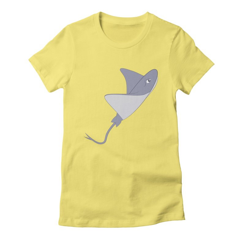 Shock Cousteau's Stingray Women's Fitted T-Shirt by Runderella's Artist Shop