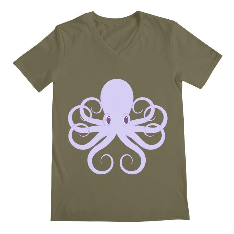 Shock Cousteau's Octopus Men's Regular V-Neck by Runderella's Artist Shop