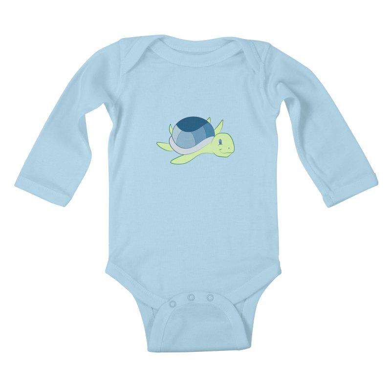 Shock Cousteau's Sea Turtle Kids Baby Longsleeve Bodysuit by Runderella's Artist Shop