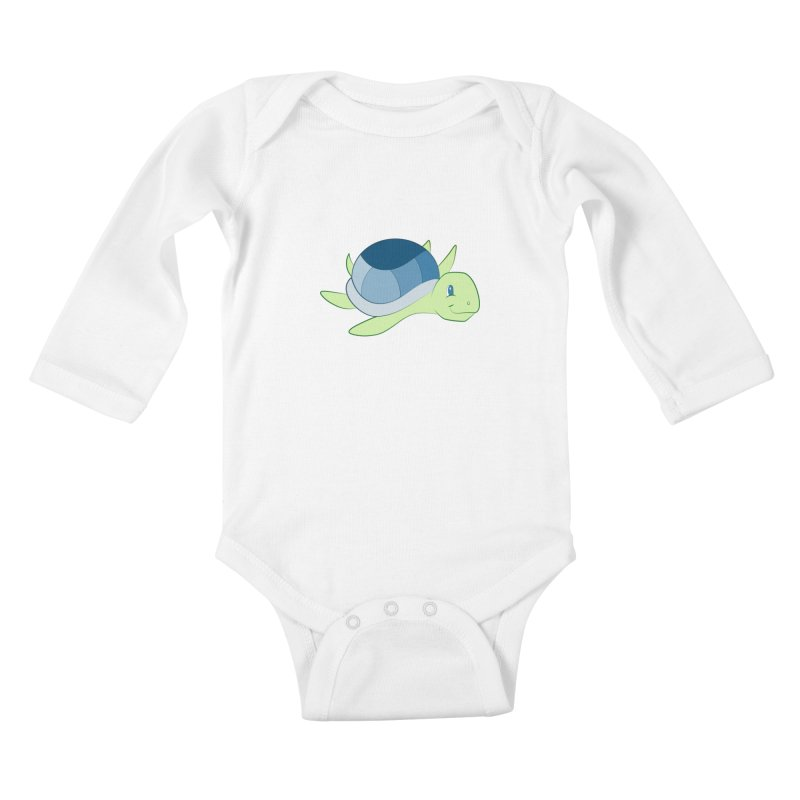 Shock Cousteau's Sea Turtle Kids Baby Longsleeve Bodysuit by Runderella's Artist Shop