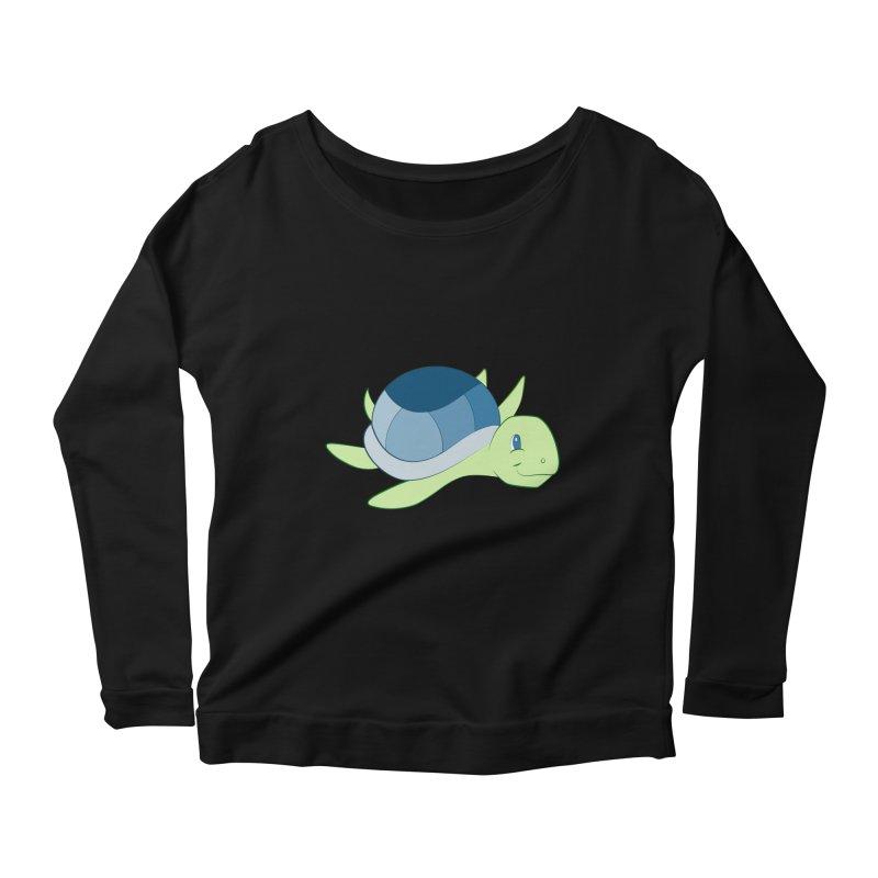 Shock Cousteau's Sea Turtle Women's Scoop Neck Longsleeve T-Shirt by Runderella's Artist Shop
