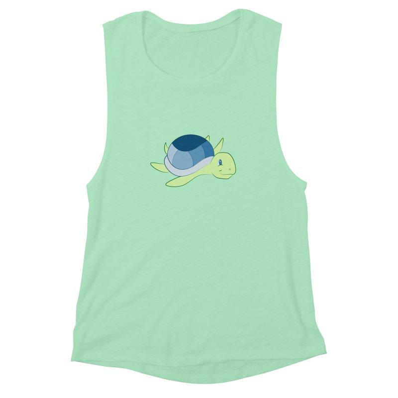 Shock Cousteau's Sea Turtle Women's Muscle Tank by Runderella's Artist Shop