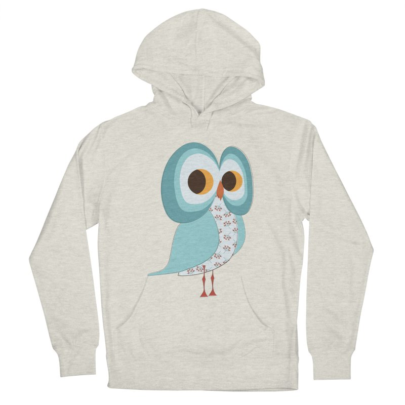 Proud Retro Owl Men's French Terry Pullover Hoody by Runderella's Artist Shop