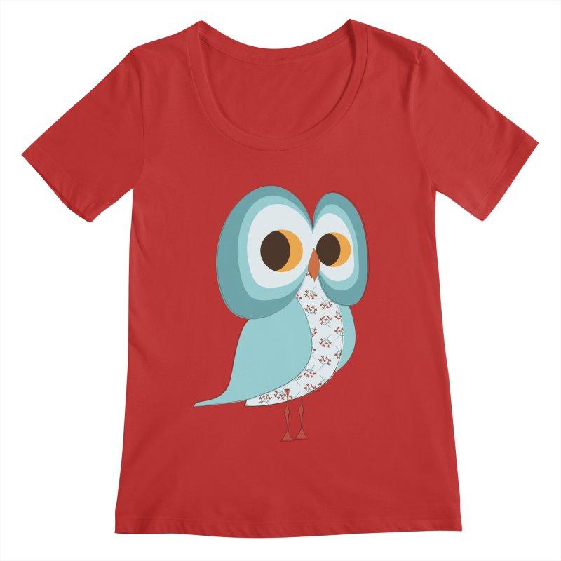 Proud Retro Owl Women's Regular Scoop Neck by Runderella's Artist Shop