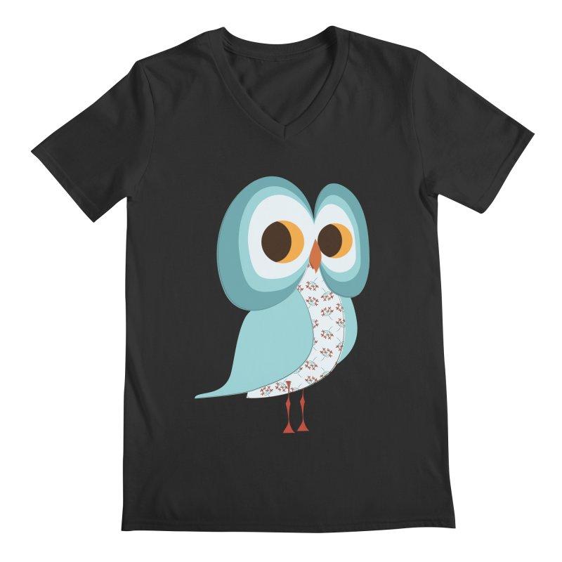 Proud Retro Owl Men's Regular V-Neck by Runderella's Artist Shop