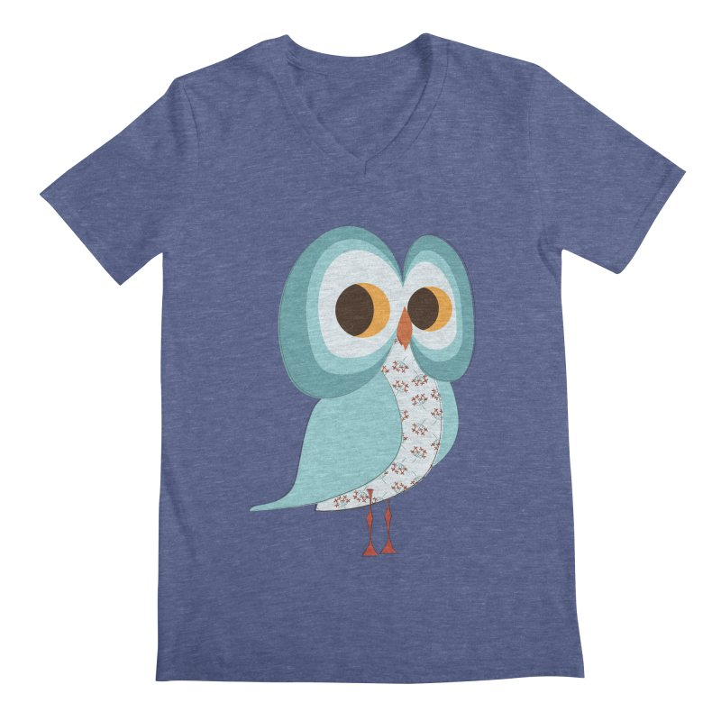 Proud Retro Owl Men's Regular V-Neck by Runderella's Artist Shop