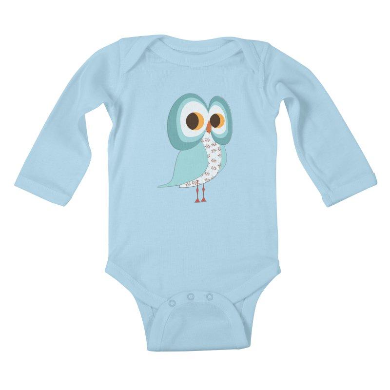 Proud Retro Owl Kids Baby Longsleeve Bodysuit by Runderella's Artist Shop