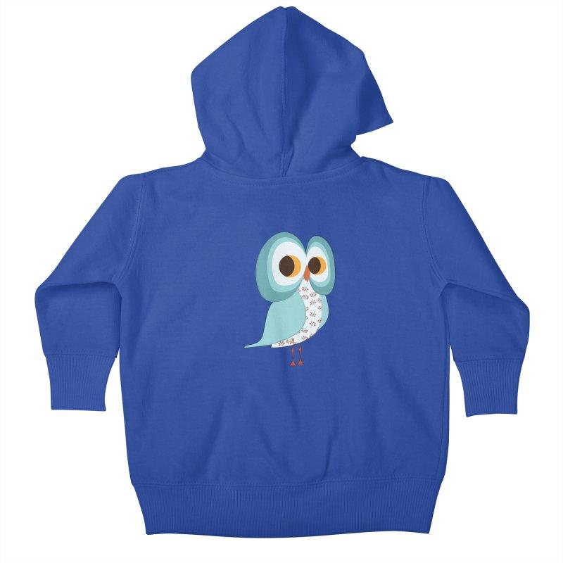 Proud Retro Owl Kids Baby Zip-Up Hoody by Runderella's Artist Shop