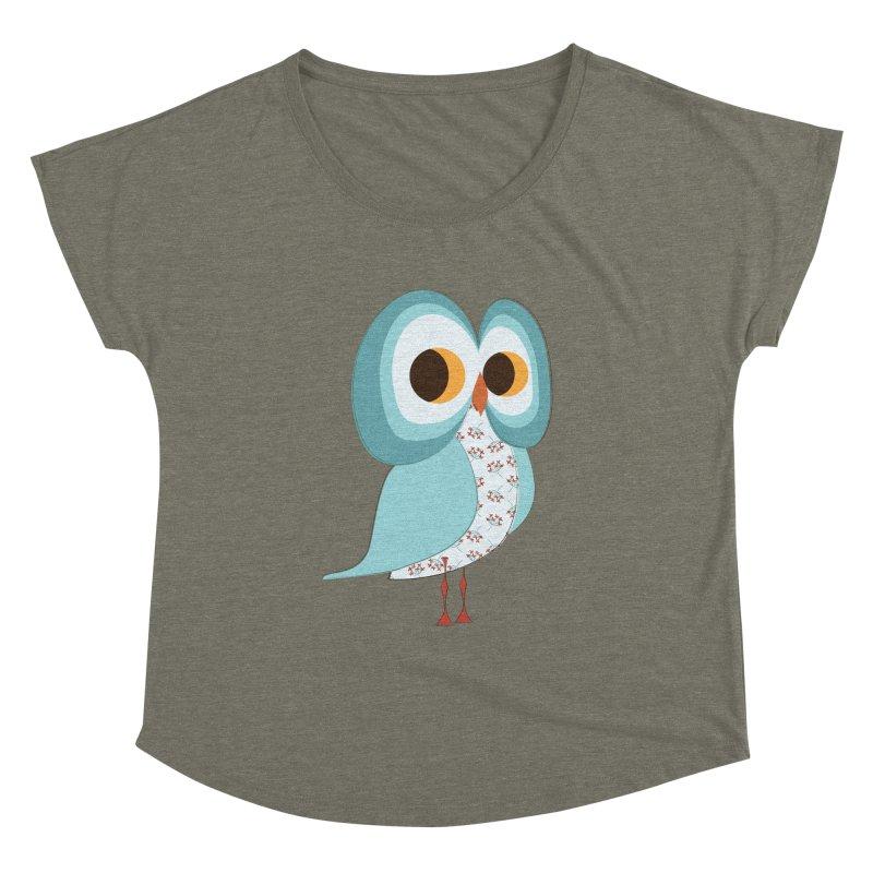 Proud Retro Owl Women's Dolman Scoop Neck by Runderella's Artist Shop