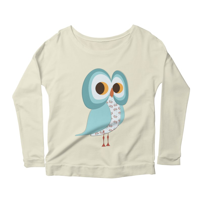Proud Retro Owl Women's Scoop Neck Longsleeve T-Shirt by Runderella's Artist Shop