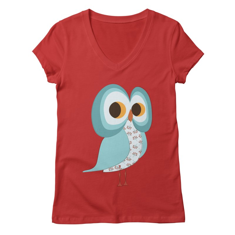 Proud Retro Owl Women's Regular V-Neck by Runderella's Artist Shop