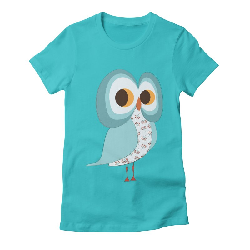 Proud Retro Owl Women's Fitted T-Shirt by Runderella's Artist Shop