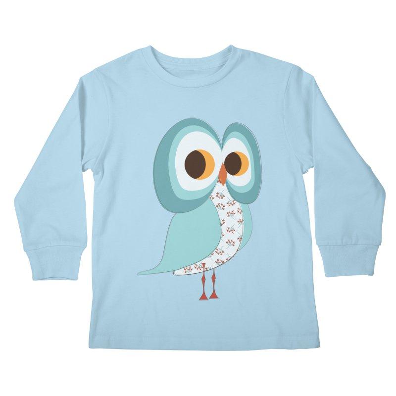 Proud Retro Owl Kids Longsleeve T-Shirt by Runderella's Artist Shop